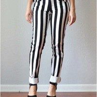 Trendy Clothing, Fashion Shoes, Women Accessories | Black & White Vertical Striped Skinny Jeans  | LoveShoppingMiami.com