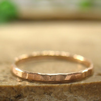 Stacker Rings Fine 14k Pink Gold Filled Hammered Ring Single Stacking Rings Collection