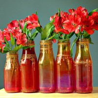 Group of Five Hand Painted Flower Bud Vases, With Colorful Ombre Glass from Ruby Red to Intense Pink, with Gold Accents