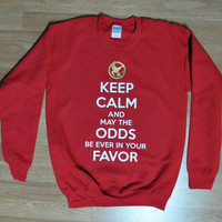 Keep calm and May the odds be ever in your favor Hunger Games Mockingjay SWEATER ADULT sizes