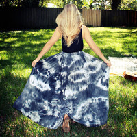 Tie Dye Maxi Skirt with Side Slit