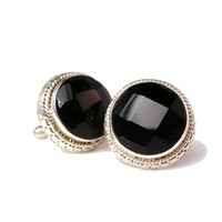 Antique Open Gaze Onyx and Sterling Silver Cufflinks-DD-I18-02650