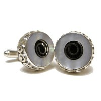 Shell Lining Mother of Pearl Onyx and Sterling Silver Cufflinks-DD-I23-02650