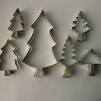 collection of 6 vintage COOKIE CUTTERS - trees, forest