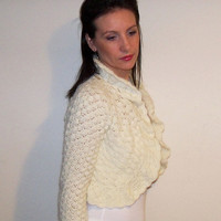 Angora BRIDAL SHRUG Ivory WEDDING Bolero Crochet Lace Mohair Jacket Size Xs S M