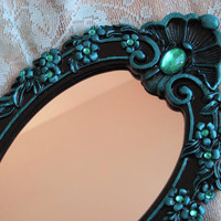Small Black &amp; Teal Aqua Jewelled Accent Mirror Hollywood Regency Gift Boxed