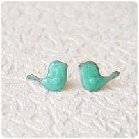 Little Mint Birds Earrings -posts studs earrings