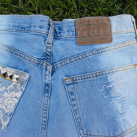OOAK Custom dipped, laced & studded hipster Abercrombie shorts
