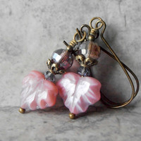 Beaded Earrings Pink Czech Glass Leaf Dangles with Light Purple Crystal in Vintage Style Antiqued Bronze Handmade Rustic Jewelry