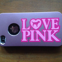 Love Pink Victoria Secret vinyl decal sticker for Iphone 4 4s case cover