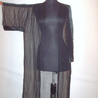 Vintage 1980s Black Shawl with Sleeve Sheer Chiffon