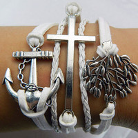 Unisex  simple fashion Antique Silver anchor cross tree pendant white  leather braided bracelet
