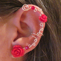 "Non Pierced Ear Cuff  ""Roses are Red"" Cartilage Conch Cuff Silver tone and Red Lucite Roses"