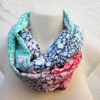 infinity scarf Loop scarf Neckwarmer Necklace scarf Fabric scarf  Red Pink Green  Dark blue White