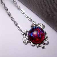 Dragon&#x27;s Breath Mexican Opal Heart Necklace