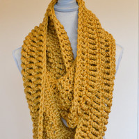 Chunky Mustard Crochet Infinity Scarf - Made to Order - Fall scarf, crochet loop scarf