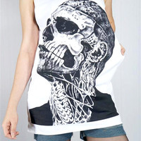 ZOMBIE BOY Rick Genest Rico Mugler Fashion Model Skull Tattoo Vest Women Sleeveless Skull Tank Top Women Shirt Skull T-Shirt Size M