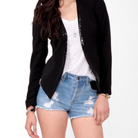 Sequined Open Front Blazer