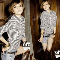 Women's Long Sleeve Classics Vintga Zebra Stripes Casual Blouse Tops Shirt #702