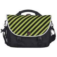 Acid Green And Oblique Black Stripes Patterns Laptop Bag from Zazzle.com