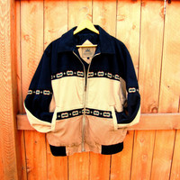 vintage southwestern canvas zip up jacket. fall fashion. gift for men. color block jacket. aztec design