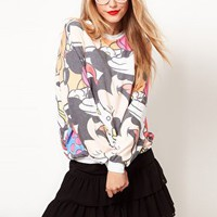 ASOS Sweatshirt with Multi Disney Toon Print at asos.com