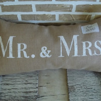 Mr. & Mrs. Burlap Pillow - with Est. Date
