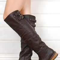 Qupid Relax01x Brown Over The Knee Buckled Riding Boots shop Boots at MakeMeChic.com
