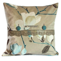 Sayuri contemporary floral cotton cushion cover with lace and fabric button fastening 18 inch