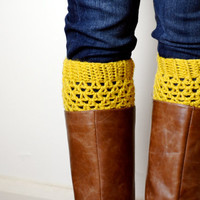 Crochet Boot Cuffs in Mustard
