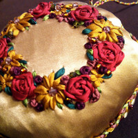 Purple and Gold Embroidered Wreath Christmas by BeanTownEmbroidery