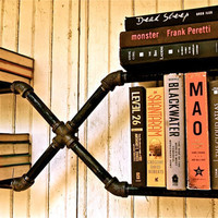 Bookshelf Industrial Age Pipe Mr X by stellableudesigns on Etsy