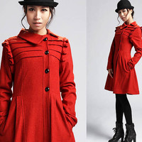 wool coat with asymmetric collar  (421)