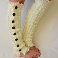 Leg warmers- ivory  slouchy open button down lace leg warmers knit lace leg warmers boot socks christmas gifts