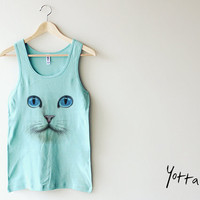 Women Tank Top - Cat Face - Christmas gift