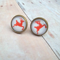 R U D O L P H - Red Rudolph Reindeer Christmas Holiday Photo Glass Cab Circle Bronze Post Earrings