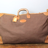 Vintage Brown Canvas Duffle Bag with Leather Trim