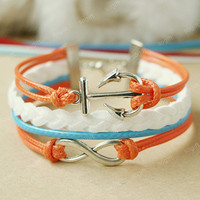 Bracelet Anchor Bracelet -Infinity bracelet - orange and white.sky blue colors mixed combination bracelet gift for girls