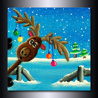 "Holiday Print: ""Photo-Bombing Reindeer"" 8"" x 8"" Christmas Decor"