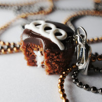 Chocolate Cupcake Necklace Pendant, Miniature Food Jewelry