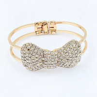 Crystal Bow Clasp Cuff