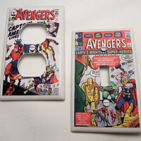 The Avengers Vintage Comic Light Switch and Outlet Covers - set of 2 - Single or Double
