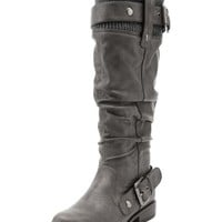 Sweater Top Double Buckle Boot: Charlotte Russe