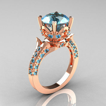 Classic French 14K Rose Gold 3.0 Carat Aquamarine Solitaire Wedding Ring R401-14KRGAQ