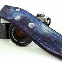 Galaxy 3 Moons Camera Strap, Handpainted, OOAK, dSLR or SLR, Cosmos