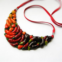 Harvest Necklace, Red Vegetables Jewelry, Autumn Vegetables Necklace, fall fashion, made to order