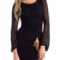 feather belted crocheted dress $36.30 in BLACK - Casual | GoJane.com