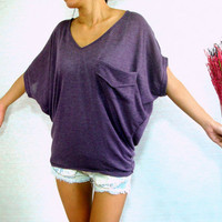 Dolman Sleeve Top / Dolman / Purple Women Blouse - Oversized Top / V Neck Tee / Ladies T shirt - Casual Chic Wide Sleeve Women&#x27;s Top