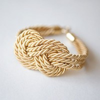 Light Gold Nautical Cord Sailor Knot Bracelet by pardes israel