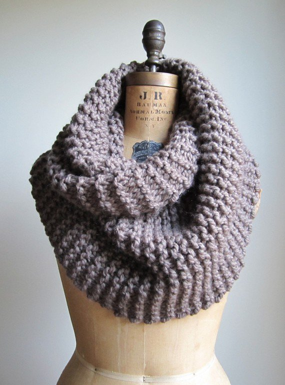 Super Snuggly Chunky knit cowl taupe brown mocha by Happiknits